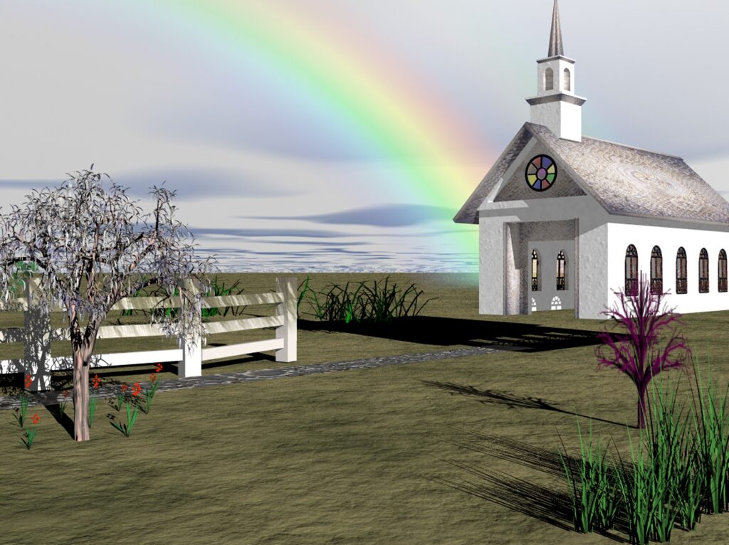 image of church at the end of the rainbow